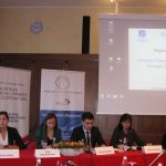 From left to right: Ms. Faola Hodaj, Project Coordinator, Institute for Democracy and Mediation, Albania; Ms Dina Bajramspahic, Public Policy Researcher, Institute Alternative, Montenegro; Mr. Stefan Karaboev and Ms Daniela Mineva, SELDI / Center for the Study of Democracy, Bulgaria, 25-26 October 2017, Ljubljana